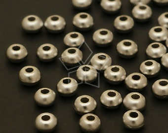 ME-118-MS / 20 Pcs - Metalic(CCB) Seed Bead, Matte Silver Plated over Acrylic / 4.3mm x 2.8mm