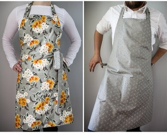 His Hers Reversible Apron / light grey floral and pinstripe vintage inspired print retro home kitchen accessory gift for couple shower gift
