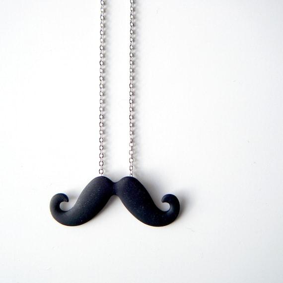 Moustache Necklace - Black Mustache Pendant on Silver Chain, Geek Jewelry - 'Poirot'