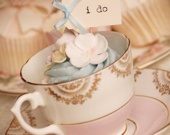 i do Wedding Cupcake Toppers - ivory with pastel blue bows - set of 10