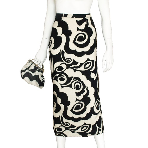 60s union made 'Miss Sun Valley by Morris Watkin' psychedelic op art print black and white cotton long maxi skirt with back split  small