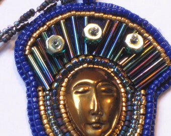 """Bead Embroidery and Beadweaving """"Cairo Rhapsody in Blue"""" Pendant Necklace"""