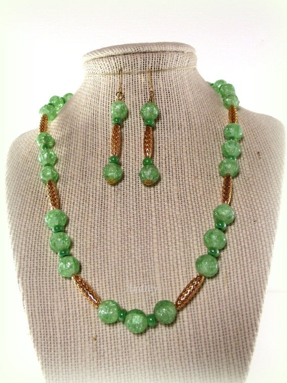 Soft Green Necklace and Earring Set -  Mint Julep Necklace Set