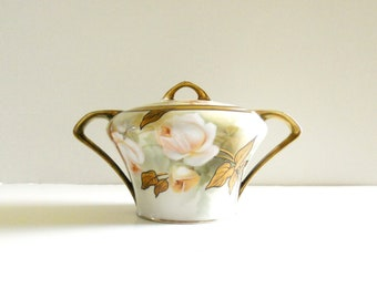 Antique 1900s Hand Painted Porcelain sugar bowl