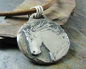 Personalized Horse Jewelry, Handmade Fine Silver Horse Pendant, Handcarved Recycled Silver, Portrait Jewelry
