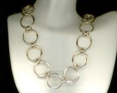 Gold Wire Necklace Circle Open Chainmaille Chain Link Circles Gold Wire