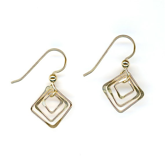 Square Gold Wire Earrings Gold Dangle Chain Link Earrings