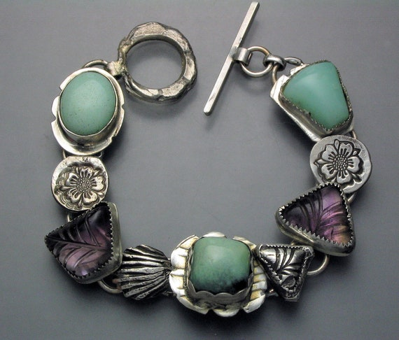 Amethyst Turquoise Serpentine and Opal-reserved for Linda