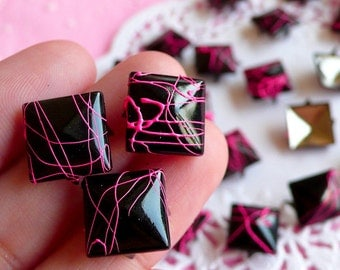 Rivet / BLACK with PINK Paint Metal Pyramid Rivet Studs Square Rivet 12mm (around 50pcs) Cell Phone Deco / Leather Craft / Jean Button RT01