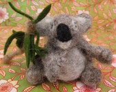 Needle Felted Koala- with felted eucalyptus branch, Marsupial, Zoo, One of a Kind, Australia, Toy