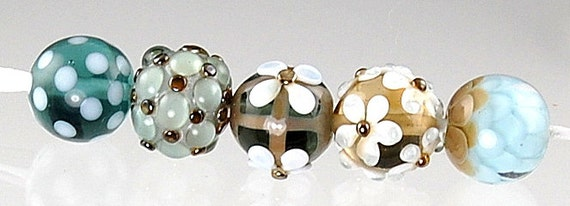 Steel Blue Gray and Brown Handmade Lampwork Beads