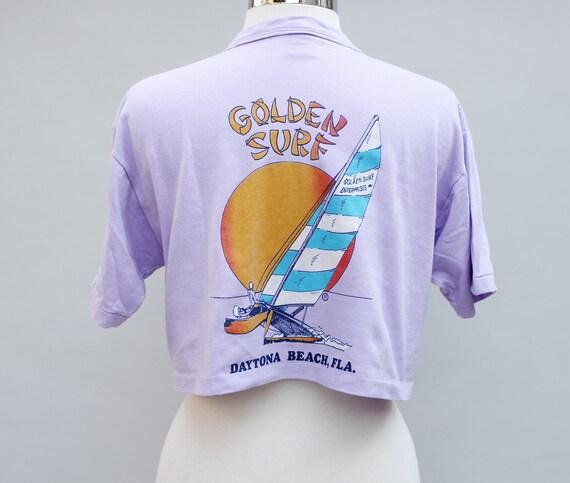 Vintage 80s Pale Lavender Cropped T-shirt Florida Souvenir