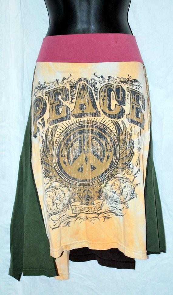 Peace recycled tee shirt skirt