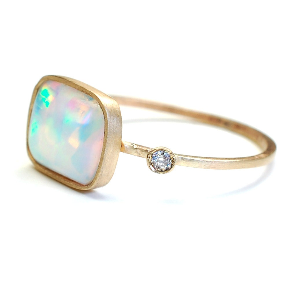 opal ring opal and ring gold ooak nixin