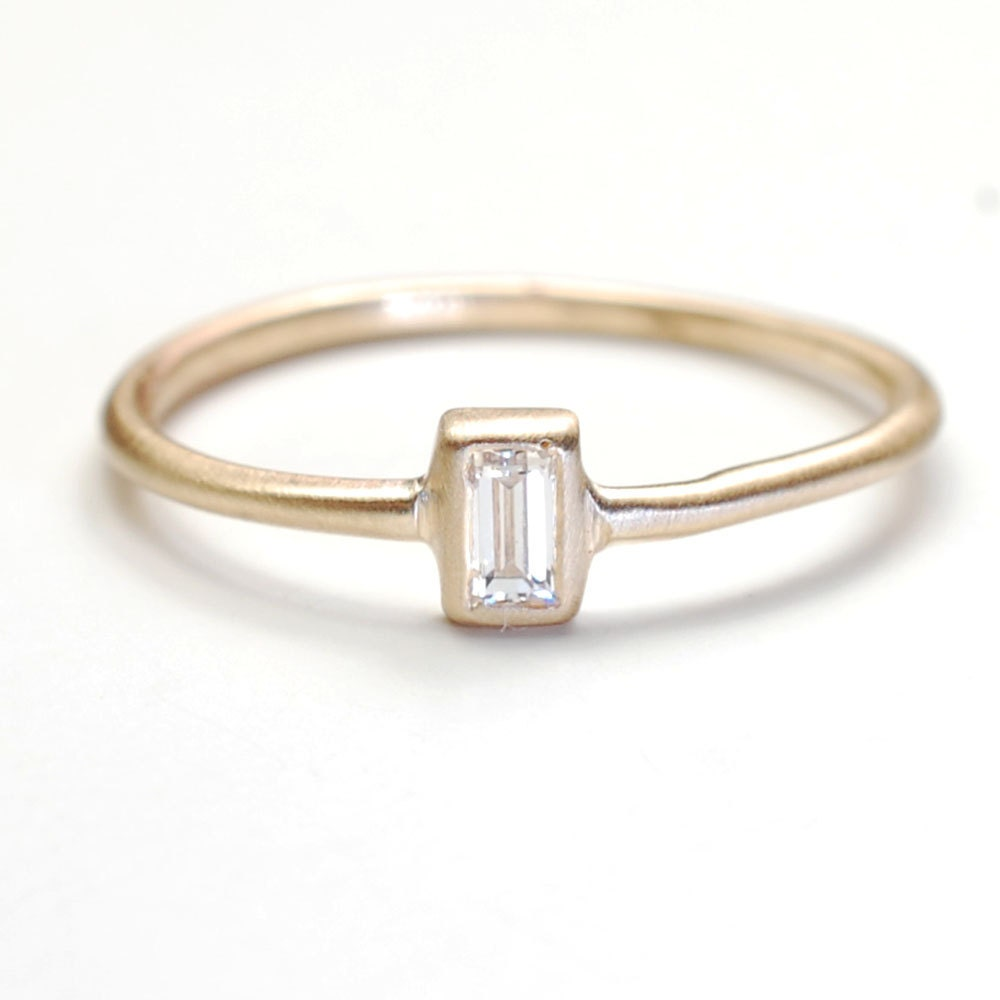 Diamond Ring Engagement Ring Baguette Diamond Ring by NIXIN