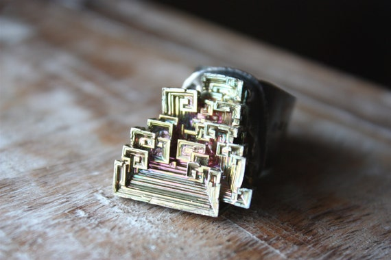 Bismuth Crystal, Sterling Silver, Cocktail Ring, Specimen, Mineral Jewelry... Chaos Into Comfort...