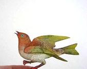 orange & lime green bird pin brooch