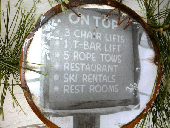 Vintage Ski Sign - Classic Vintage photo - Rusty Tin Ornament