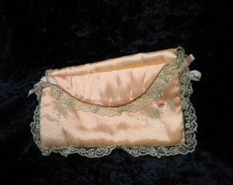 x Peach Satin Jewelry Lingerie Pocket Hand Painted with Ribbon Roses & Lace (FF215)