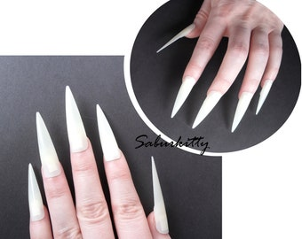 Flat Style Pointed Nails 20 Count Plus Cosplay Costume Nail Art Blanks PDF diy length full coverage fake opaque tips w/glue