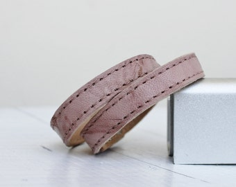 Pastel Pink Leather Bracelet, Simple   Double Wrap Cuff