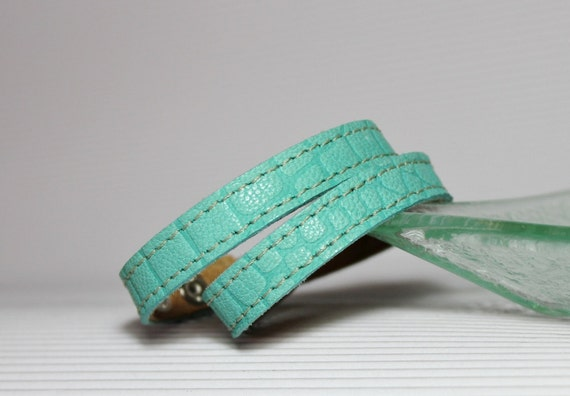 Turquoise Crocodile Print Double  Wrap  Cuff / Teal Leather Narrow Bracelet