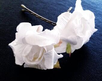 Hello White Rose, Bridal Hair Accessory, Wedding Accessories, Bridesmaid Hair Flower, White Hair Flower, Bobby Pin Set of 2