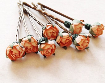 Peach Rosebud, Bridal Hair Accessories, Bridesmaid Hair Flower, Peach Hair Flower, Bobby Pin - Set of 8