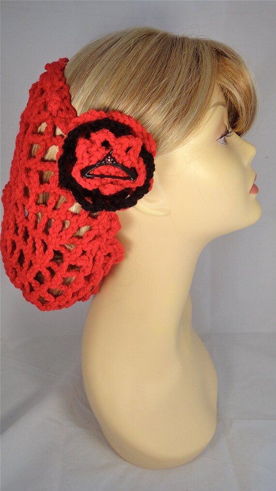 Handmade Vintage-Style Red Dance Snood with matching Hanger Clip