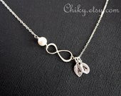 Personalized Vertical Infinity necklace , Two initial leaf and  pearl, STERLING SILVER  figure 8 jewelry, family necklace, Mother's Day gift