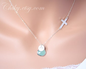 Sideways cross necklace with initial disc and stone in bezel,STERLING SILVER - aqua necklace, disc necklace, horizontal cross necklace