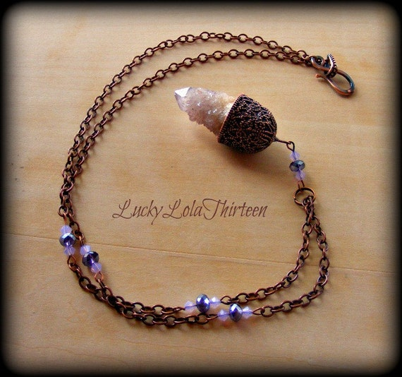 Spirit quartz and Swarovski crystal copper colored pendulum necklace reserved for Bobby