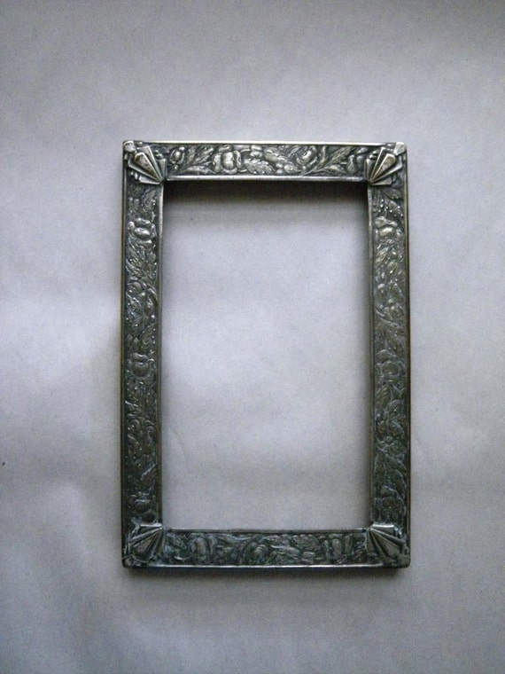 Vintage 1920s Engraved Silver Plated Metal Picture Frame - Flowers and Leaves and Art Deco Corners