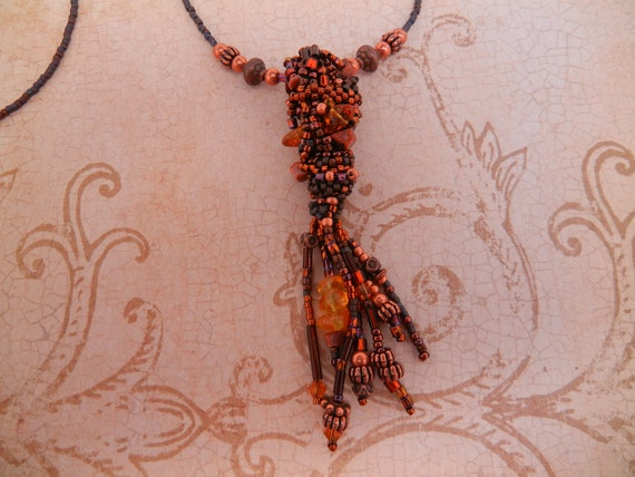 Copper and brown free form peyote stitch pendant necklace