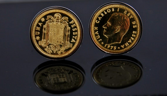 Cufflinks for men Spain 1 Pesata Cufflinks - Genuine mint spanish coins used. Very rare coins.