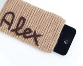 Personalized beige cotton crochet Iphone case, Alex message name in a beige and brown cell case