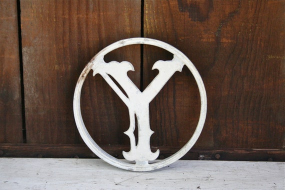 Awesome Vintage Salvaged Metal Letter Y