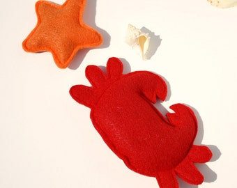 Catnip Cat Toys- Crab and Starfish Set- nautical cat toys, summer cat toys, catnip toys, ocean cat toys, crab cat toy,cat nip toy,kitty toys