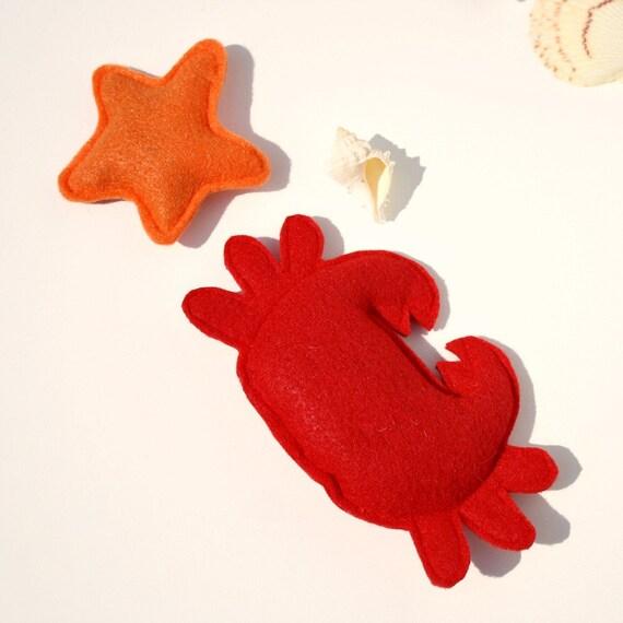 Catnip Cat Toys- Crab and Starfish Set- nautical cat toys, summer cat toys, catnip toys, ocean cat toys, crab cat toy,cat nip toy,kitty toys
