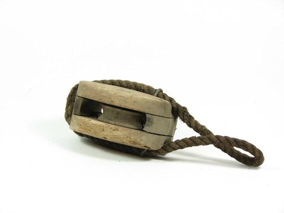 Vintage Wood Pulley Cast Iron Wheel Rope Handle Hanger