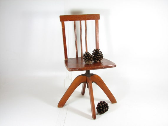Vintage Child Swivel Desk Chair Wooden Desk Chair Adjustable