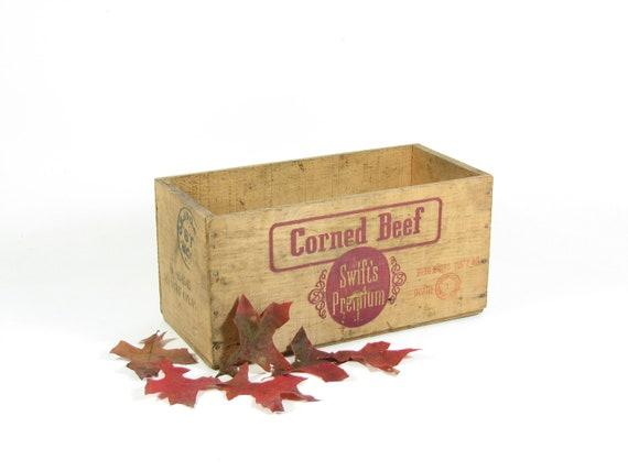 Wood Crate Vintage Swift's Premium Corned Beef Wooden Advertising Crate Box