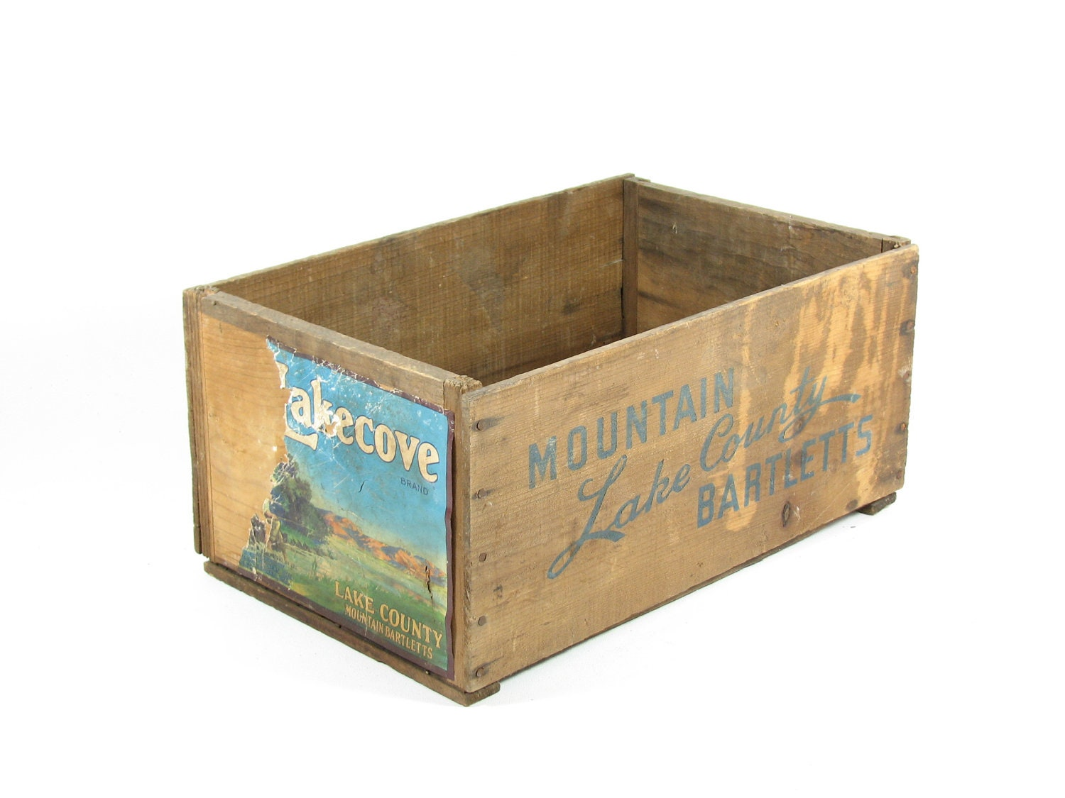 Vintage wood fruit crate wooden box paper label mountain lake for Wooden fruit crates