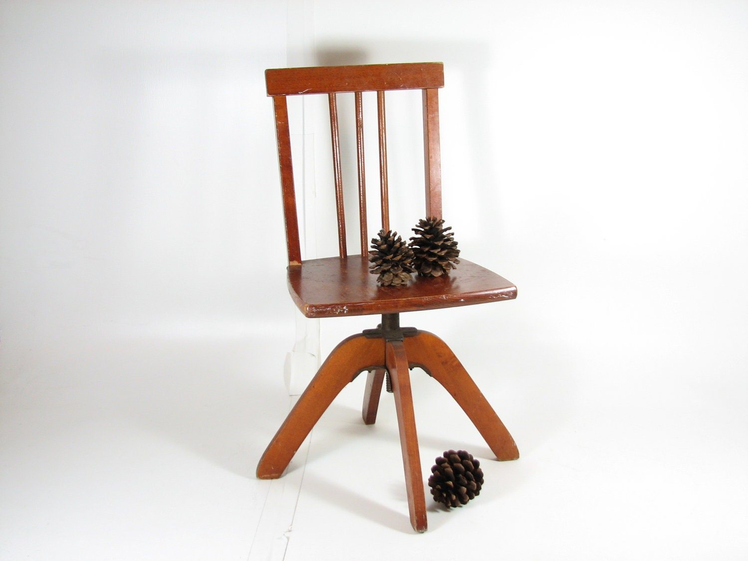 Vintage child swivel desk chair wooden desk chair adjustable for Chair with swivel desk