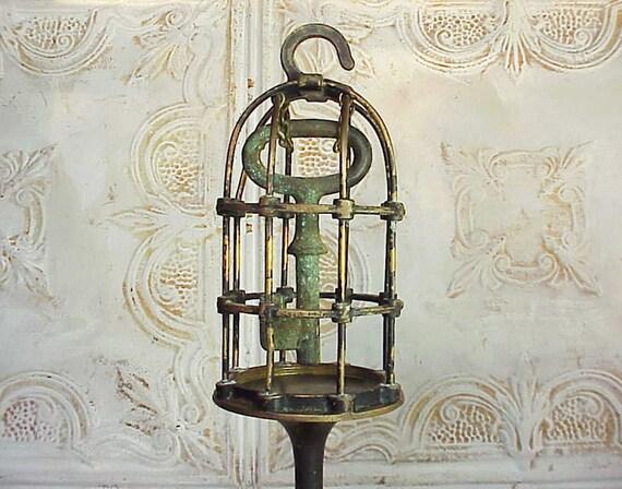 Industrial Machine Age Steampunk Caged Key Sculpture