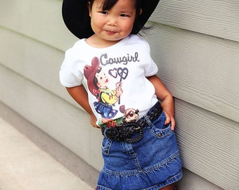 Cowgirl T-Shirt, Cowgirl Branding, with puppy, Toddler girl Brown or Blonde Hair T-Shirt, Tank or One Piece Baby by ChiTownBoutique.etsy
