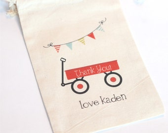 LITTLE RED WAGON - Custom Favor bags - Set of 10 - Choose size - colors - text