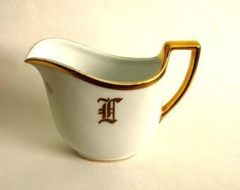 Porcelain White and Gold Creamer Monogram L or I