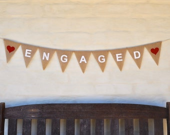 ENGAGED BANNER Hessian Burlap Wedding Celebration Engagement Party Bunting Decoration Hens party rustic boho Red Hearts White Text