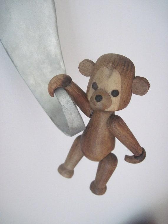 "Danish Modern Bear Kay Bojesen Style ""Schooline"" Mid Century Teak- RARE Jointed Vintage Hanging Toy"